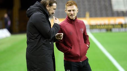Norwich Head Coach Daniel Farke and Harrison Reed of Norwich before the Sky Bet Championship match a