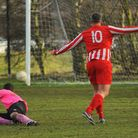 Norwich CEYMS' Lewis Allen was on target during their 1-1 draw against Mulbarton Wanderers. Picture: