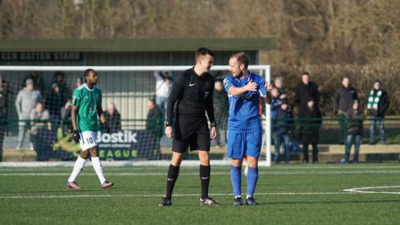 Lowestoft's Andrew Fisk has a word with referee Robert Evans. Picture: Shirley D Whitlow