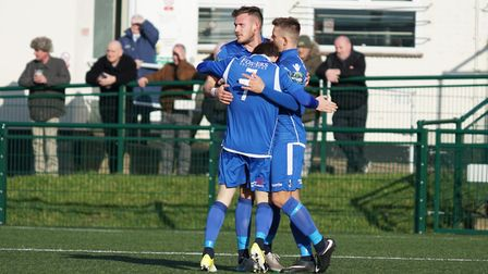 Lowestoft Town celebrate Jake Reed's strike. Picture: Shirley D Whitlow