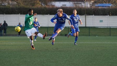 Robert Eagle in action against Hendon. Picture: Shirley D Whitlow