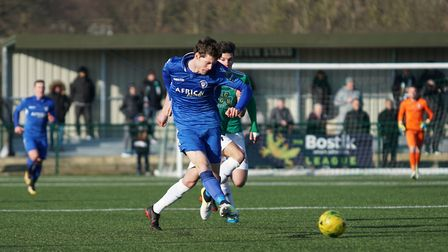 Lowestoft Town's Harvey Hodd crosses for Jake Reed to score. Picture: Shirley D Whitlow