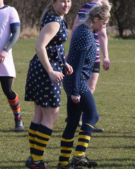 Emma Potter, front left, during the warm up for the first Potter Legacy cup charity rugby match in f
