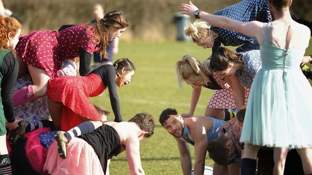 No scrums in the game, so the team to build a human pyramid first wins the ball during the first Pot