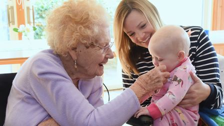 Hannah Smalley with daughter Sybil at Badgers Wood care home.