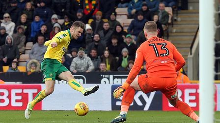 Dennis Srbeny of Norwich scuffs a late shot during Saturday's 0-0 draw with Bolton at Carrow Road. P