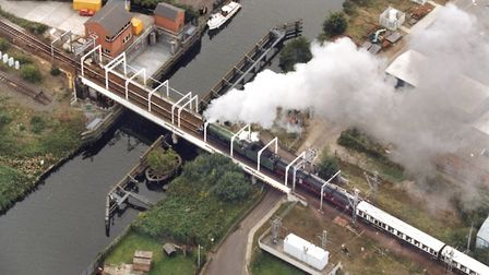 Flashback to 1999, when the Flying Scotsman passed over Trowse swing bridge. Pic: Mike Page