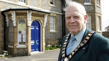 Tributes have been paid to former Cromer mayor Tony Nash, pictured outside North Lodge in the town i