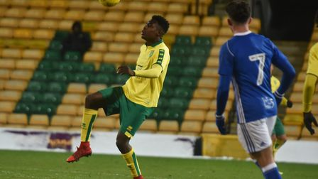 Timi Odusina in Youth Cup action for City.
