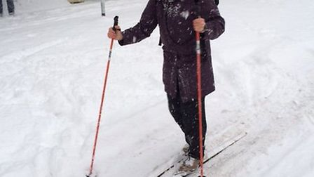 Malle Payne skiing into work at UEA on Wednesday. Picture: Malle Payne