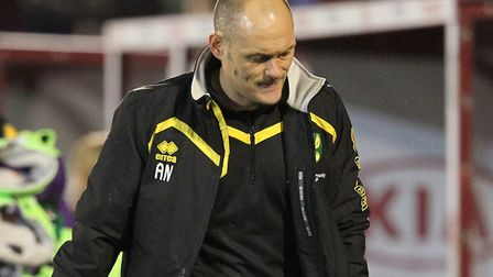 Alex Neil cutt a dejected figure after Norwich City's last trip to Barnsley. Picture: Paul Chesterto