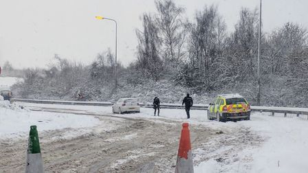 The crash on the sliproad from Longwater retail park, heading onto the A47 westbound. Picture: Kevin