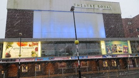 Norwich Theatre Royal in the snow.Photo: supplied by Norwich Theatre Royal