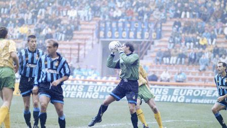 Action from the San Siro where the Canaries faced the mighty Inter Milan. Pictures: Archant
