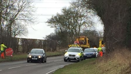 Police were called to the scene of a two-vehicle crash on the B1113 at Swardeston today (March 22).P