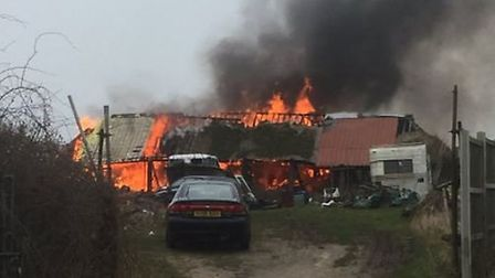 The fire at Fleggburgh Road in Rollesby (Image: @3trinitythree)