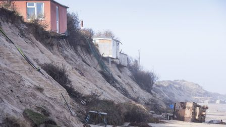 Homes on The Marrams in Hemsby are on the verge of falling into the sea due to coastal erosion. Pict