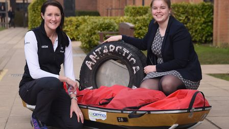 Lance Sgt Sophie Montagne with her sledge which she used as a member of the first all female team, t