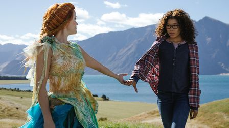 Reese Witherspoon is Mrs Whatsit and Storm Reid is Meg Murry in A Wrinkle in Time. Photo: Disney