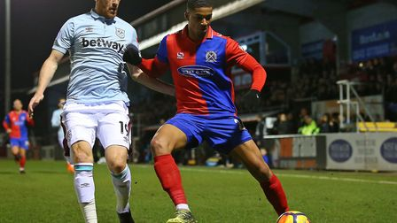 James Collins of West Ham and Mason Bloomfield of Dagenham during a friendly earlier this week. Pict