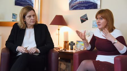 Home secretary, Amber Rudd, during her visit to the Magdalene Group in Norwich, to talk about domest