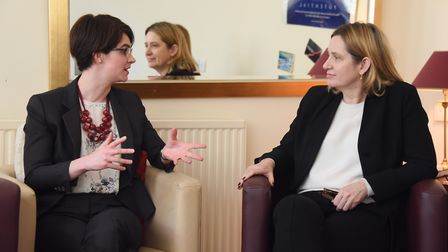MP Chloe Smith, left, with Home secretary, Amber Rudd, during the visit to the Magdalene Group in No