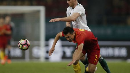 City forward Marley Watkins in action during Wales' 6-0 win in China. Picture: Color China Photo via