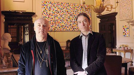 Damien Hirst and Lord Cholmondeley. Picture: Ian Burt
