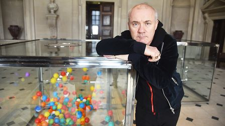 Artist Damien Hirst inside the main house at Houghton Hall. Picture: Ian Burt