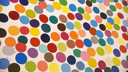 A close up of one of Damien Hirst's spot paintings at Houghton Hall. Picture: Ian Burt