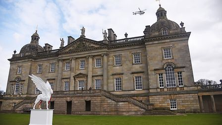 Damien Hirst leaving Houghton Hall by helicopter. Picture: Ian Burt
