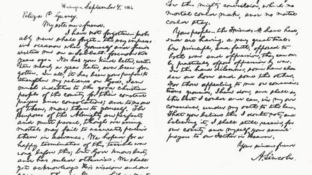 A facsimile of Abraham Lincoln's letter to his 'esteemed friend' on Septenber 4 1864. It was Eliza G