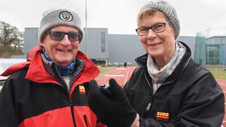 Pauline and Tim Ash, coaches to Iona Lake who is training for the steeplechase at the Commonwealth G