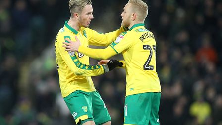 James Maddison celebrates a goal against Sheffield Wednesday with Alex Pritchard, now of Huddersfiel