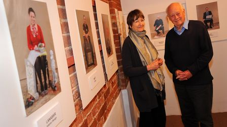 Charles and Elizabeth Handy at the Acorns photographic exhibition in the Corn Hall, Diss. Photograph