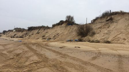 There are now gaping holes on the clifftop at the Marrams where the chalets were. Picture: Anthony C