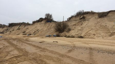 There are now gaping holes on the clifftop at the Marrams where the chalets where.Picture: Anthony C