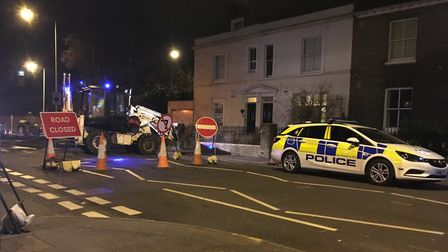 Evening resurfacing work in Grove Road prompted a protest from an angry resident. Pic: Dan Grimmer.