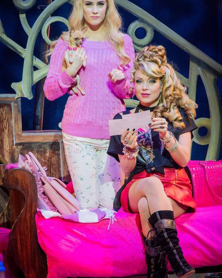 Lucie Jones as Elle Woods, with Bruisey and Rita Simons as Paulette Bonafonte in Legally Blonde The