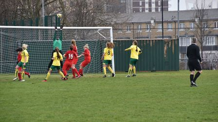 Leyton Orient keeper Ogunde saves an inswinging free-kick from Aimee Durrant. Picture: Brian Coombes