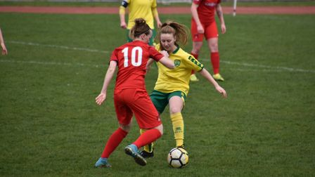 Norwich scorer Millie Daviss in possession. Picture: Brian Coombes