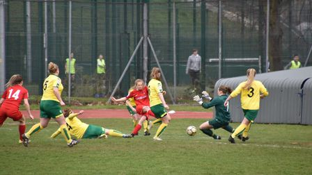 Norwich keeper Eilish Brogan saves a certain goal durign the game against Leyton Orient. Picture: Br