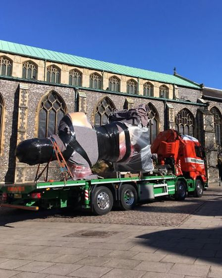 Damien Hirst's The Hymn is being installed in Norwich (Image: Sophie Wyllie)