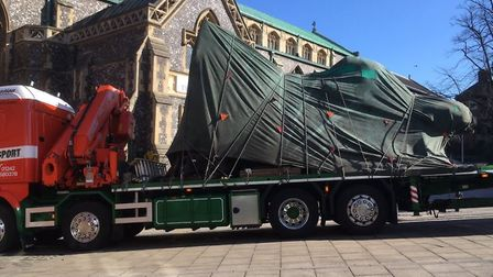 Damien Hirst's The Hymn is being installed in Norwich (Image: Denise Bradley)