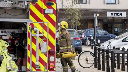 Fire crew attend a fire at the YMCA building in Norwich.Picture: Nick Butcher