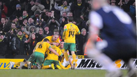 City players celebrate Oli Johnson's 90th-minute winner against Southend in February, 2010 - typical