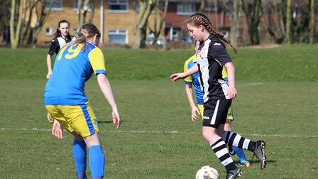 Laura Holden, whose goal booked Acle's place in the Norfolk Women's Cup final. Picture: Gary Reed Ph