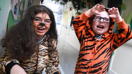 Two Clare School children as Shere Khan in the sensory tunnel before taking part in their multi sens