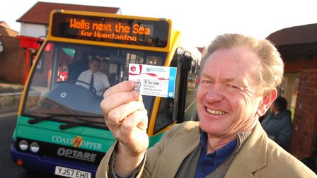 Concessionary bus travel is launched in Norfolk by television presenter Eddie Anderson in 2008. Pho