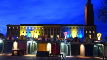 City Hall is lit up in blue and yellow for World Down Syndrome Day. Picture: DENISE BRADLEY